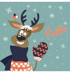 Reindeer says hello vector