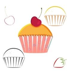 Cherry berry cupcake set vector