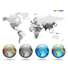 Globes on gray detailed map vector