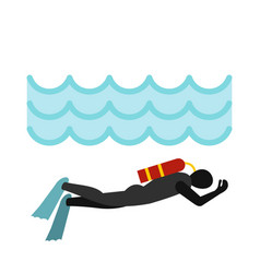aqualanger in diving suit icon flat style vector image