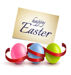 Realistic colourful easter eggs with a red ribbon vector