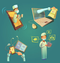 Online doctor cartoon set vector