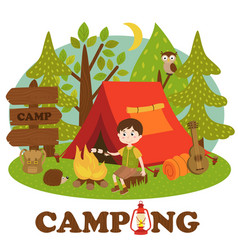 boy near bonfire in summer camp vector image