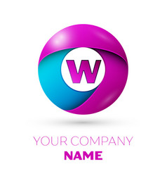 Letter w symbol in the colorful circle vector