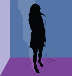 Singer black silhouette in the room vector