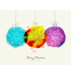 Merry Christmas watercolor baubles card vector image