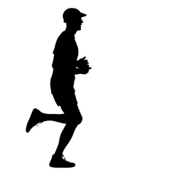 Running black silhouettes vector