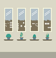 Four glasses windows with pot plants on wooden vector