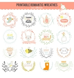 Romantic hand drawn collection of laurels wreaths vector