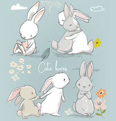 6 cute cartoon hares vector image vector image