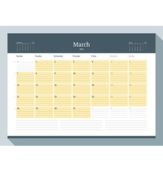 March 2016 monthly calendar planner for 2016 year vector