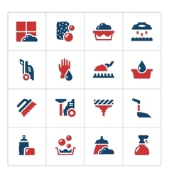Set color icons of cleaning vector