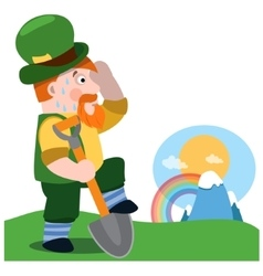 The man with a shovel st patrick s day vector