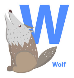blue letter w sitting and howling wolf abc cards vector image vector image