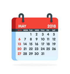 Calendar for 2018 year full month of may icon vector