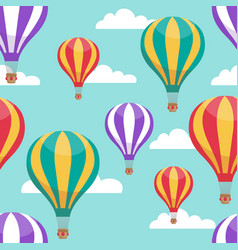 cartoon hot air balloons in blue sky vector image