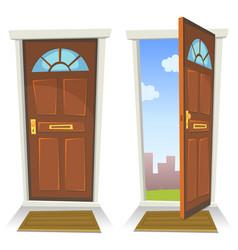 Cartoon red door open and closed vector
