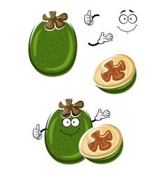 Cartoon tropical feijoa or pineapple guava fruit vector