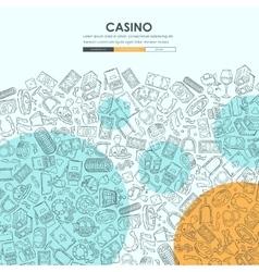 Casino doodle website template design vector