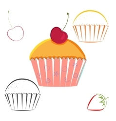 Cherry berry cupcake set vector image vector image