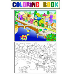 children color fairy city with river vector image