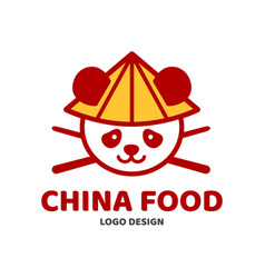 china food panda and chopsticks in hat vector image