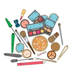Cosmetics and fashion background with make up vector