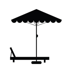 Deckchair and umbrella vector