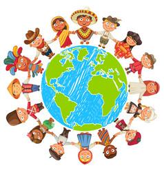Earth day nationalities funny cartoon character vector