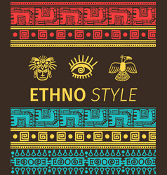 Ethno banner with tribal symbols vector
