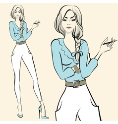 Fashion standing woman emotions vector image vector image