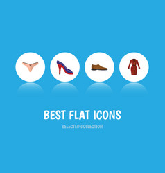 Flat icon garment set of lingerie clothes heeled vector