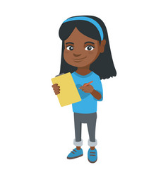 girl writing on the paper attached to a clipboard vector image vector image