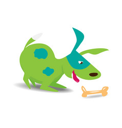 green cheerful dog with bone vector image