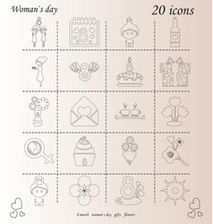 I love you womens doodle 20 icon in set of womens vector
