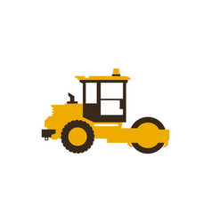icon paver men at work construction machinery vector image vector image