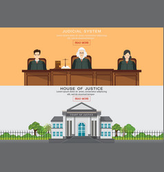 law horizontal banner set with judicial system vector image