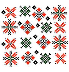Moldovan romanian ethnic ornament pattern set vector