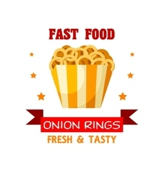 Onion rings fast food meal emblem vector