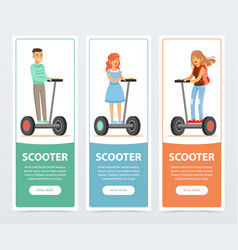 People riding on electric gyroscope scooter vector