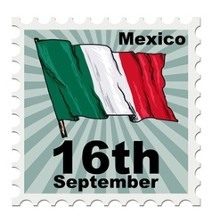 post stamp of national day of Mexico vector image vector image