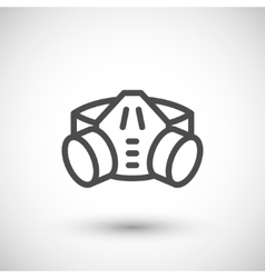 Respirator with filter cartridges line icon vector