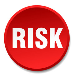 Risk red round flat isolated push button vector