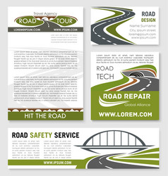 road and highway banner template design vector image