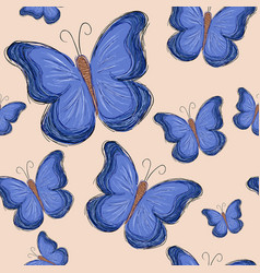 Seamless pattern with blue butterfly on brown vector