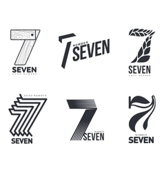 Set of black and white number seven logo templates vector