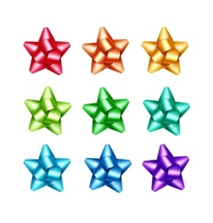 Set of red orange yellow blue green purple bows vector