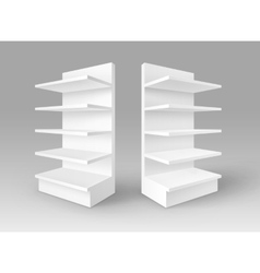 Set of white empty exhibition trade stands racks vector