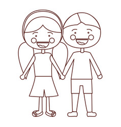sketch contour smile expression cartoon boy hair vector image vector image