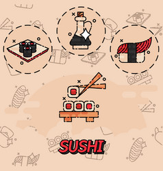 sushi flat concept icons vector image vector image